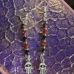 Jewelry - Lucky hand Earrings, agate and garnet beads!!!